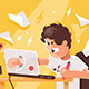 Stressed Angry Young Man Crashed Laptop at Work - GraphicRiver Item for Sale