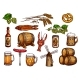 Vector Sketch Icons Set of Beer Snacks and Brewery - GraphicRiver Item for Sale