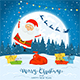 Santa Claus on Winter Background with Gifts and Christmas Lights - GraphicRiver Item for Sale