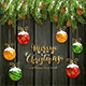 Christmas Lettering on Black Wooden Background with Balls and Snow - GraphicRiver Item for Sale