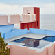 Geometric building construction. The red wall, La manzanera. Calpe, Spain - PhotoDune Item for Sale