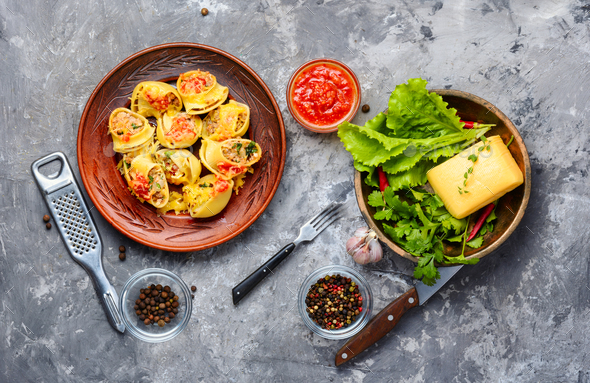Italian stuffed pasta with meat. - Stock Photo - Images