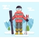 Skier Mountain Winter Mountains Vacation Skiing - GraphicRiver Item for Sale