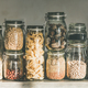 Rustic kitchen food storage arrangement in glass jars - PhotoDune Item for Sale