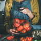 Woman in apron holding basket with heirloom tomatoes - PhotoDune Item for Sale