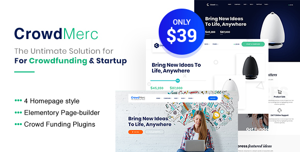 Download Crowdmerc – Crowdfunding Startup Fundraising WordPress Theme nulled 01 preview