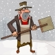 Free Download Cartoon Janitor Stands with a Shovel Nulled