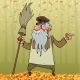 Free Download Cartoon Janitor Stands with a Broom and Angrily Nulled