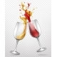 Glass Goblets with Splashing Wine Realistic Vector - GraphicRiver Item for Sale