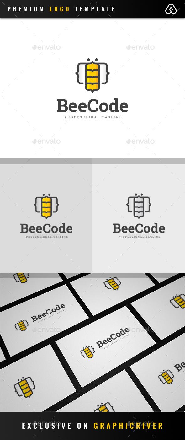 Bee Code Logo - Animals Logo Templates