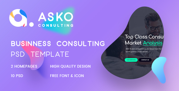 Asko - Business, Advice, Finance Consulting Psd Template
