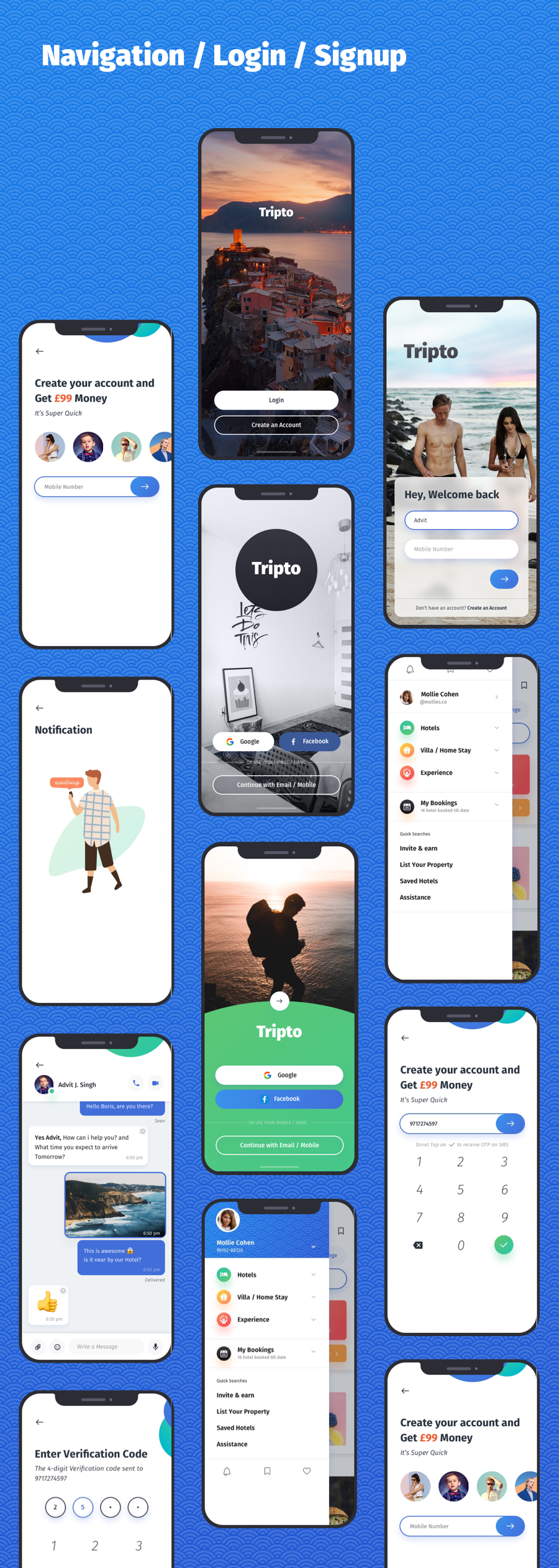 Tripto - Travel and Food Mobile App UI-kit