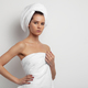 attractive female with white towel on head - PhotoDune Item for Sale