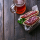 Pastrami and coleslaw sandwich, rustic style, copy space - PhotoDune Item for Sale