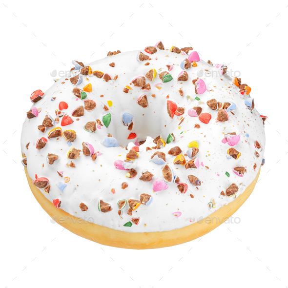 White donut isolated - Stock Photo - Images