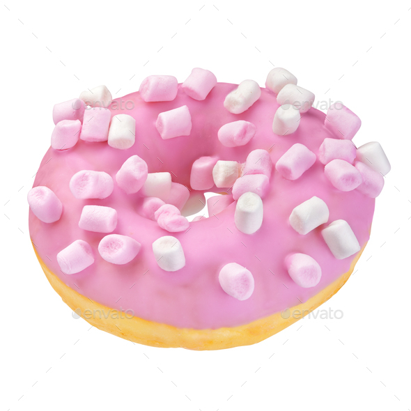 Pink donut isolated - Stock Photo - Images