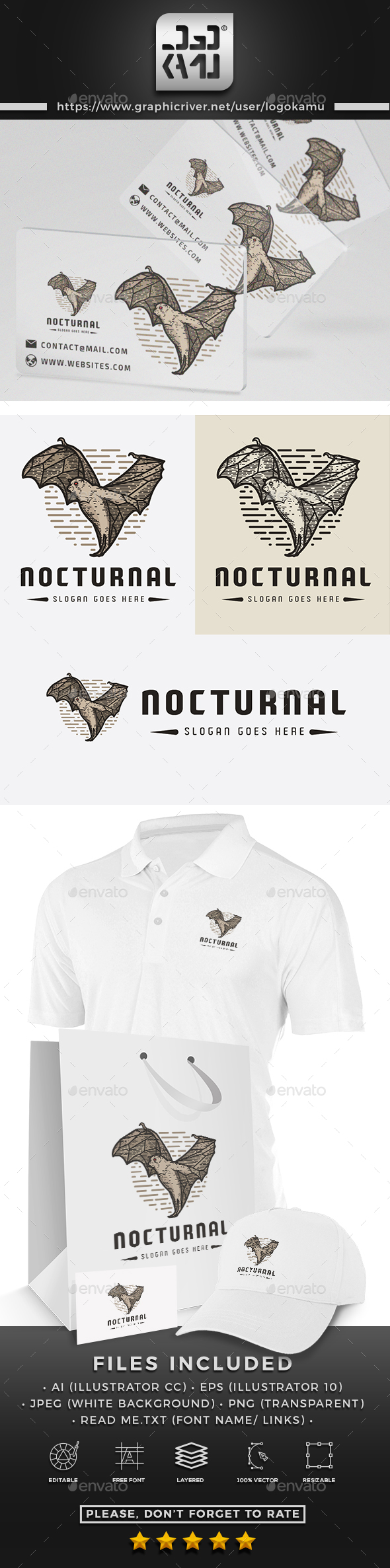 Nocturnal Bat Logo - Animals Logo Templates