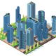 Business Quarter with Streets - GraphicRiver Item for Sale