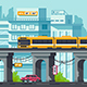 Flat Street with Road and Car Under Elevated Metro - GraphicRiver Item for Sale