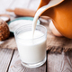Free Download Ingredients for pastry and a glass of milk on wooden background. Food. cooking Nulled