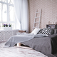 Free Download Modern bedroom with comfortable double bed and stylish white brick wall Nulled