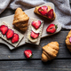 Free Download A delicious breakfast of strawberries and bread on wooden background. Fruit, food Nulled