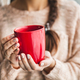 Free Download Woman's hand holding a red cup of coffee. With a beautiful winter manicure. Drink, fashion Nulled