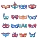 Carnival Mask Venetian Icons Set Cartoon Style - GraphicRiver Item for Sale