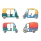 Tuk Rickshaw Thailand Icons Set Cartoon Style - GraphicRiver Item for Sale