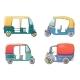 Tuk Rickshaw Thailand Icons Set Cartoon Style - GraphicRiver Item for Sale