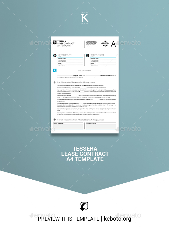 Tessera Lease Contract A4 Template - Miscellaneous Print Templates