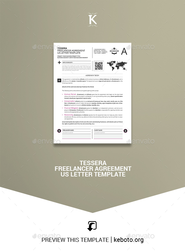 Tessera Freelancer Agreement US Letter Template - Miscellaneous Print Templates