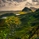 Scenic landscape view of Quiraing mountains in Isle of Skye, Scotland, UK - PhotoDune Item for Sale