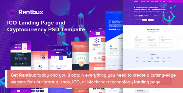 Rentbux - ICO Landing Page and Cryptocurrency PSD Template
