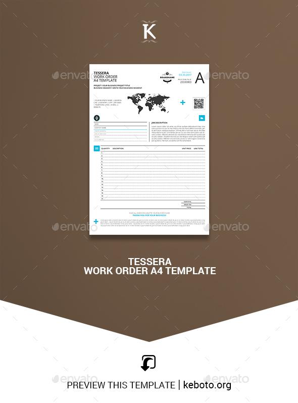 Tessera Work Order A4 Template - Miscellaneous Print Templates