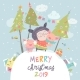 Cartoon Girl with Pigs Christmas - GraphicRiver Item for Sale