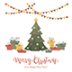 Presents and Christmas Tree on White Background - GraphicRiver Item for Sale