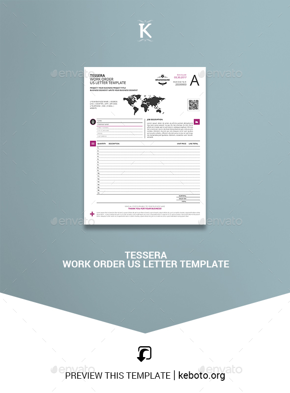 Tessera Work Order US Letter Template - Miscellaneous Print Templates