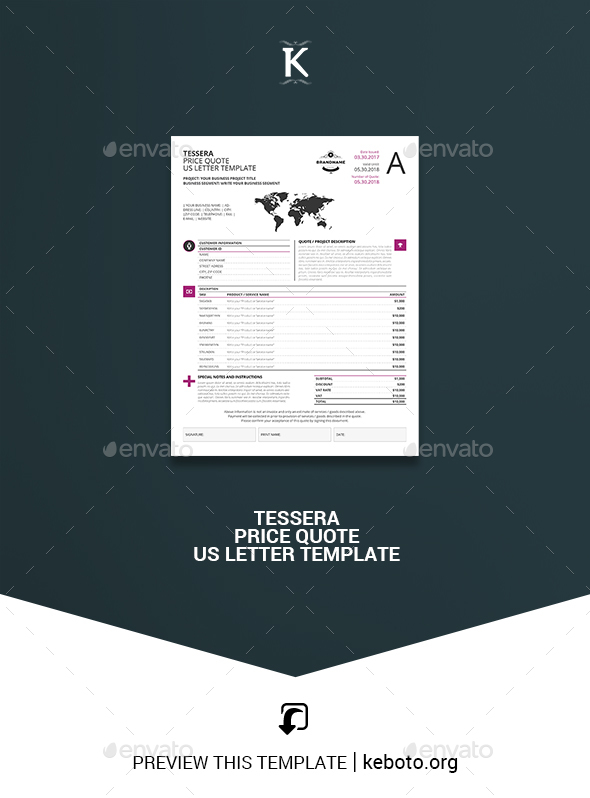 Tessera Price Quote US Letter Template - Miscellaneous Print Templates