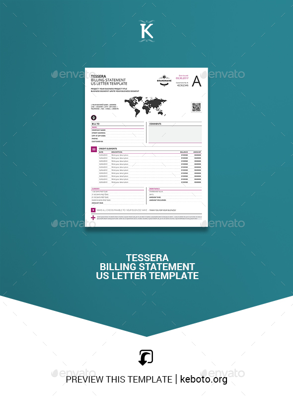 Tessera Billing Statement Us Letter Template By Keboto Graphicriver