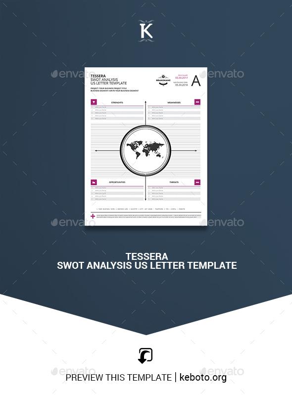 Tessera SWOT Analysis US Letter Template - Miscellaneous Print Templates