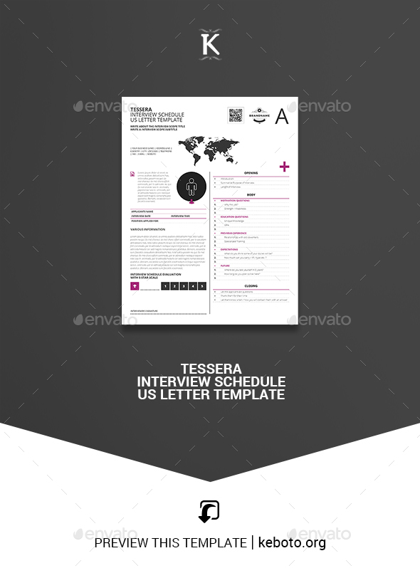 Tessera Interview Schedule US Letter Template - Miscellaneous Print Templates