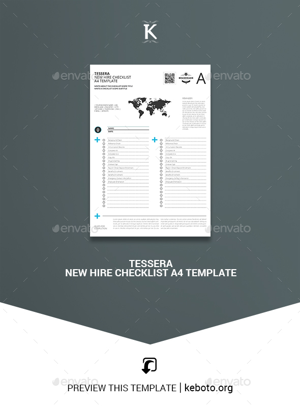 Tessera New Hire Checklist A4 Template - Miscellaneous Print Templates