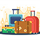 Flat Set Suitcases on Background of Attractions - GraphicRiver Item for Sale