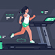 Flat Silhouette Young Woman Running on Treadmill - GraphicRiver Item for Sale