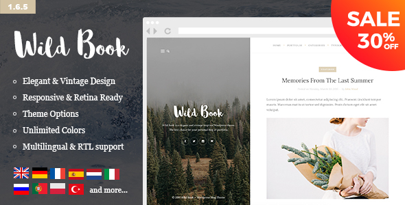 Wild Book - Vintage, Elegant & Summer WordPress Personal Blog Theme (Multilingual, RTL support) - Personal Blog / Magazine