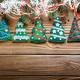 Handmade rustic felt Christmas tree decorations as background on - PhotoDune Item for Sale