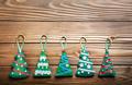 Handmade rustic green felt Christmas tree decorations flat lying - PhotoDune Item for Sale