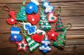 Assorted handmade rustic felt Christmas tree decorations wooden - PhotoDune Item for Sale