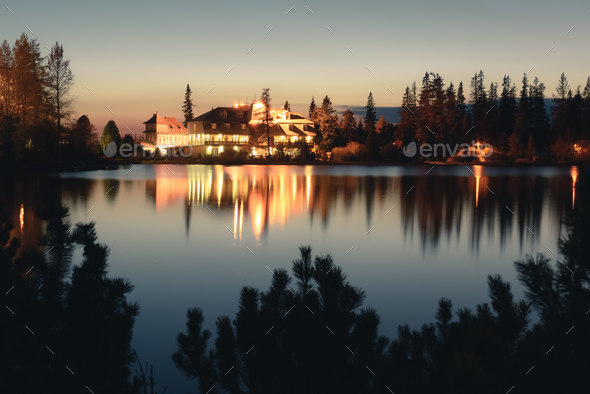 Picturesque autumn view of lake Strbske pleso in High Tatras National Park - Stock Photo - Images